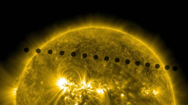 On June 5-6, 2012, NASA's Solar Dynamics Observatory collected images of one of the rarest predictable solar events: the transit of Venus across the face of the Sun. NASA/SDO, AIA