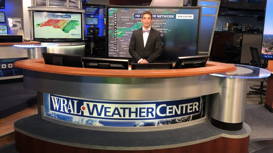 Clay Chaney behind the WRAL Weather Center desk